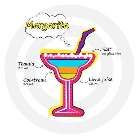Vector illustration. Margarita cocktail drink recipe in bright pop-art style. 向量圖像