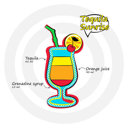 Vector illustration. Tequila sunrise drink recipe in bright pop-art style.  向量圖像