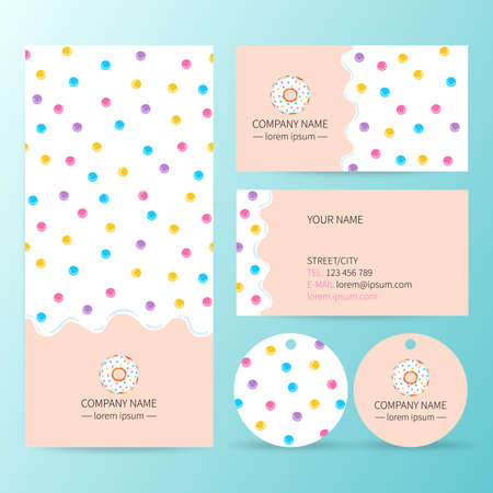 Sweet corporate identity template design set . White donut glaze business card. 向量圖像