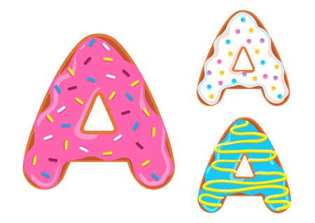 Sweet donut font vector. Letter A