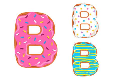 Sweet donut font vector. Letter B