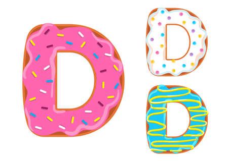 Sweet donut font vector. Letter D Banco de Imagens - 98673462