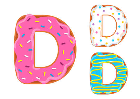 Sweet donut font vector. Letter D Stock Illustratie