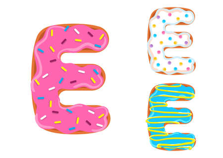 Sweet donut font vector with Letter E shape.