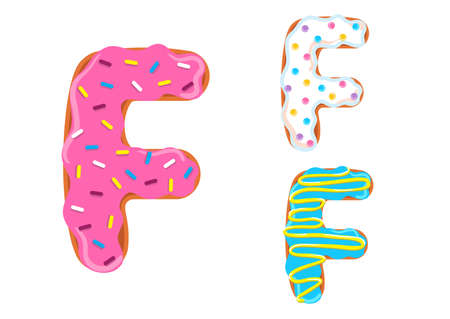 Sweet donut font vector with Letter F shape.