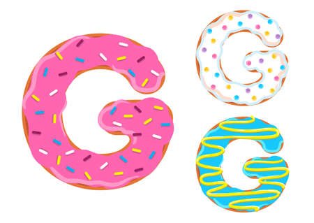 Sweet donut font vector with Letter G shape.