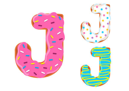 Sweet donut font vector with Letter J shape.