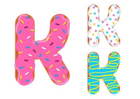 Sweet donut font vector with Letter K shape. 向量圖像