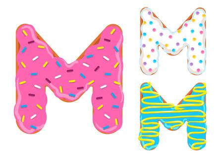 Sweet donut font vector Letter M 向量圖像