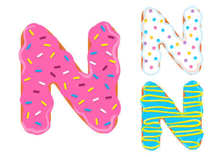 Sweet donut font vector with Letter N shape.