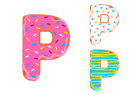 Sweet donut font vector with letter P shape.