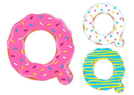 Sweet donut font vector with Letter Q shape.