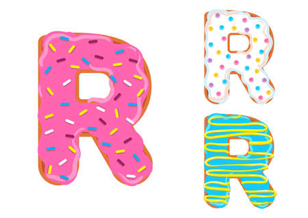 Sweet donut font vector Letter R shape.