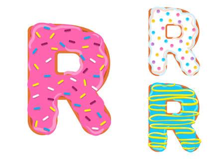 Zoete donut lettertype vector Letter R-vorm.