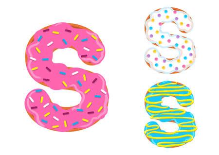 Sweet donut font vector with Letter S shape. Banco de Imagens - 98673716