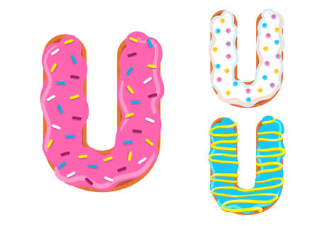 Sweet donut font vector with Letter U shape.