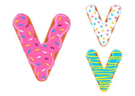 Sweet donut font vector with letter V shape. 向量圖像