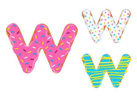 Sweet donut font vector Letter W shape. 向量圖像