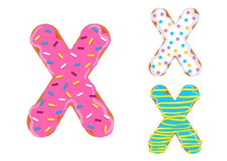 Sweet donut font vector with Letter X shape. 向量圖像