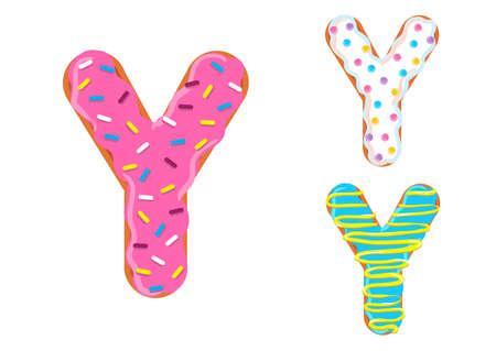 文字 Y の形を持つ甘いドーナツ フォント ベクター。