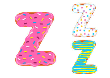 Sweet donut font vector with Letter Z shape.