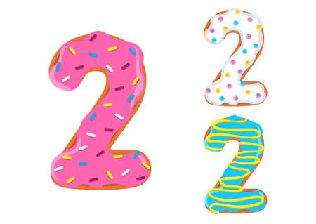 Sweet donut font vector with number 2 shape.