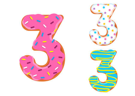 Sweet donut font vector with number 3 shape. 向量圖像