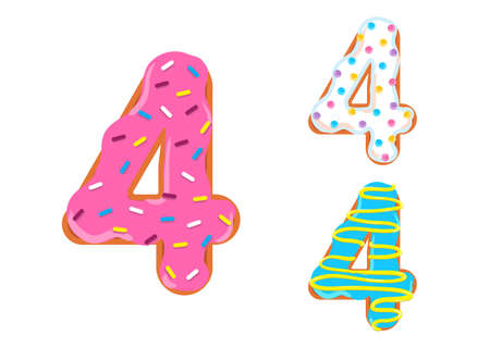 Sweet donut font vector with Number 4 shape. 向量圖像