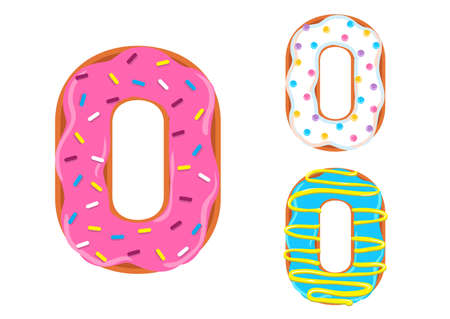 Sweet donut font vector with number 0 shape.