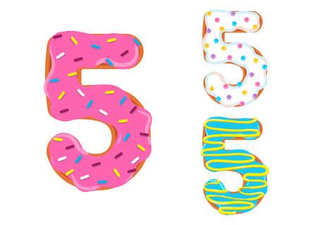 Sweet donut font vector. Number 5