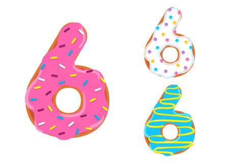 Sweet donut font vector with number 6 shape. 向量圖像