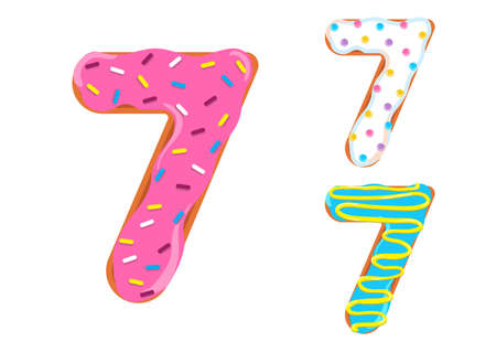 Sweet donut font vector with Number 7 shape.