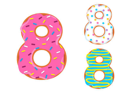 Sweet donut font vector with number 8 shape.