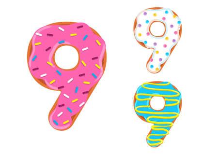 Sweet donut font vector with number 9 shape. Illustration