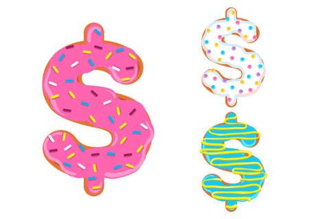 Sweet donut font vector with dollar symbol shape.