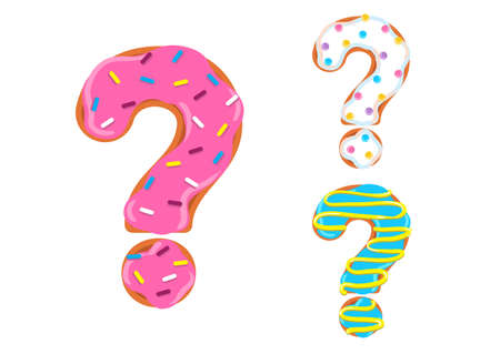Sweet donut font vector with question mark shape.