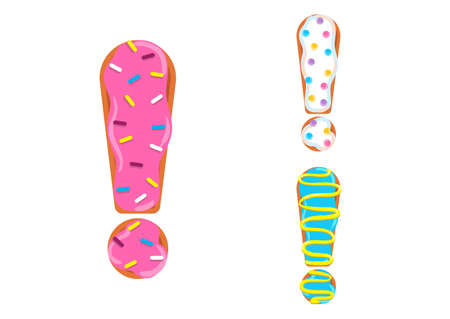 Sweet donut font vector. Exclamation mark