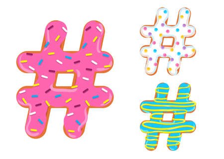 Sweet donut font vector with hash mark shape.