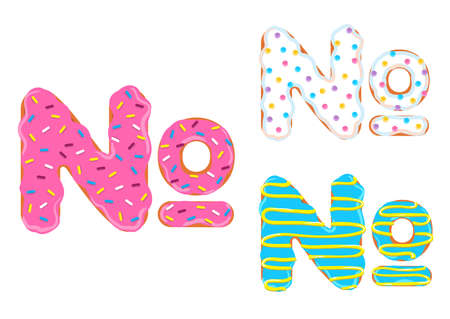 Sweet donut font vector with number sign shape.