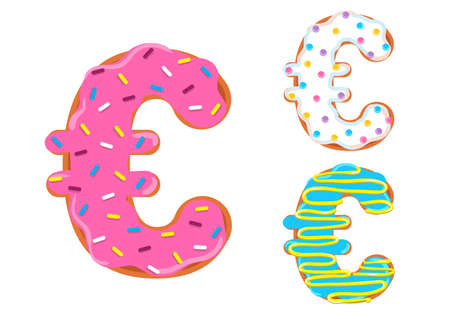 Sweet donut font vector with euro symbol shape.