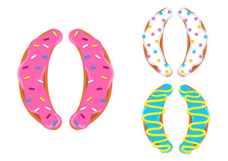 Sweet donut font vector with symbol parentheses shape.