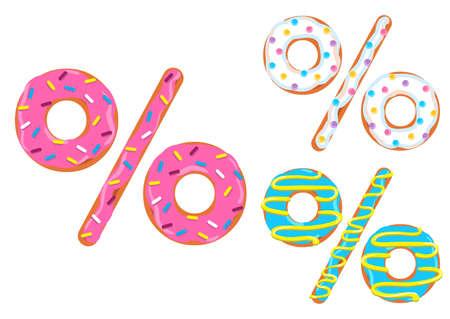 Sweet donut font vector. Percent sign