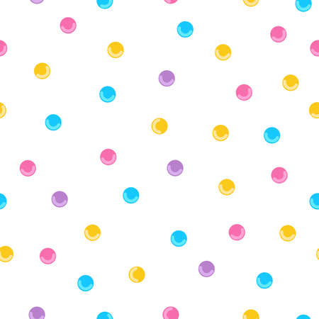 Seamless pattern background with white donut glaze and colorful candy.