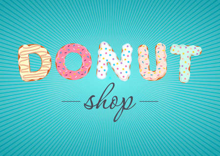 Vector logo for donut shop and bakery. Can find its application as a logo or icon for sweet bar, confectionery, room, boutique, store.