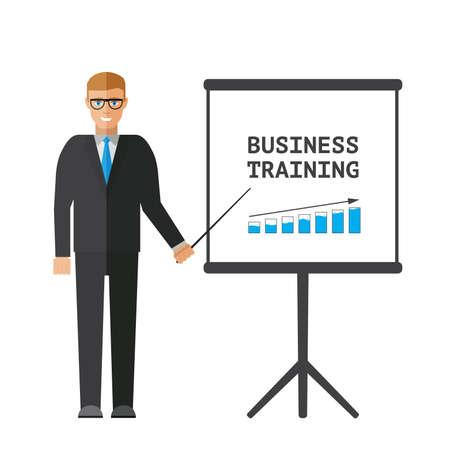 Flat design businessman pointing presentation business training board