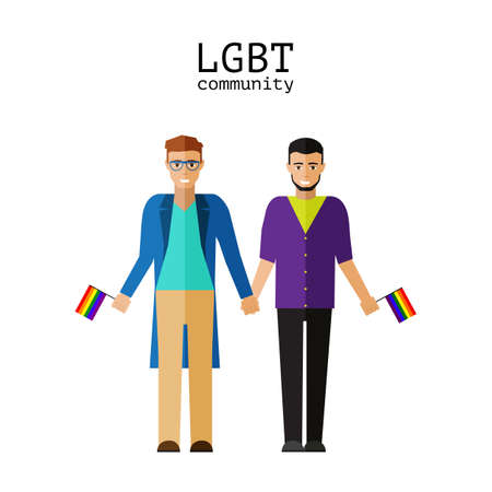 Flat gay couple with flag LGBT community 向量圖像