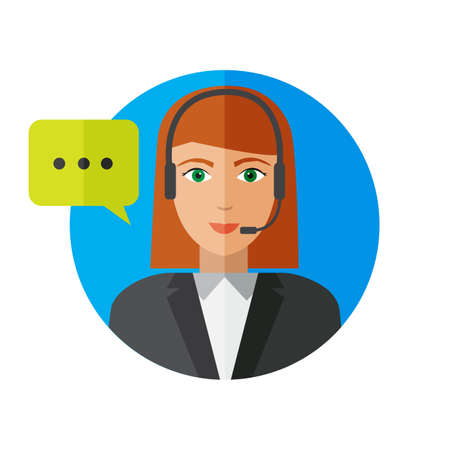 Girl operator service support and call center with colorful speech bubbles conceptual of client services and communication in a flat style