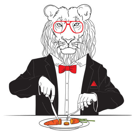Vector lion a vegetarian eats for lunch carrot
