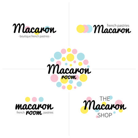 Set of vector macaron and french pastries Icons, Illustration can be used as logo or icon in premium quality for shop, room, boutique, store Illustration