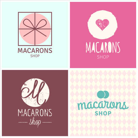 Set of vector macaron shop logo, illustration can be used as logo or icon in premium quality for shop, room, boutique, store 向量圖像